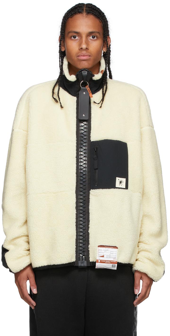 Miharayasuhiro Off-White Boa Fleece Zip-Up Jacket