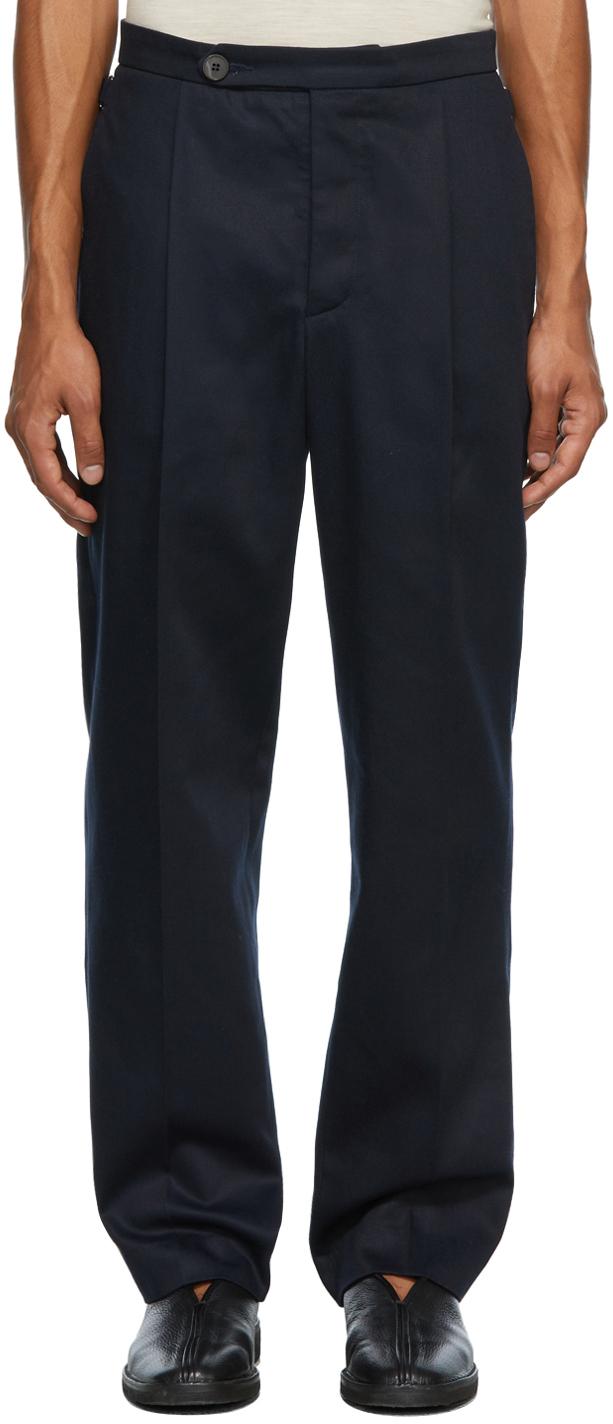 Navy Pleat Trousers