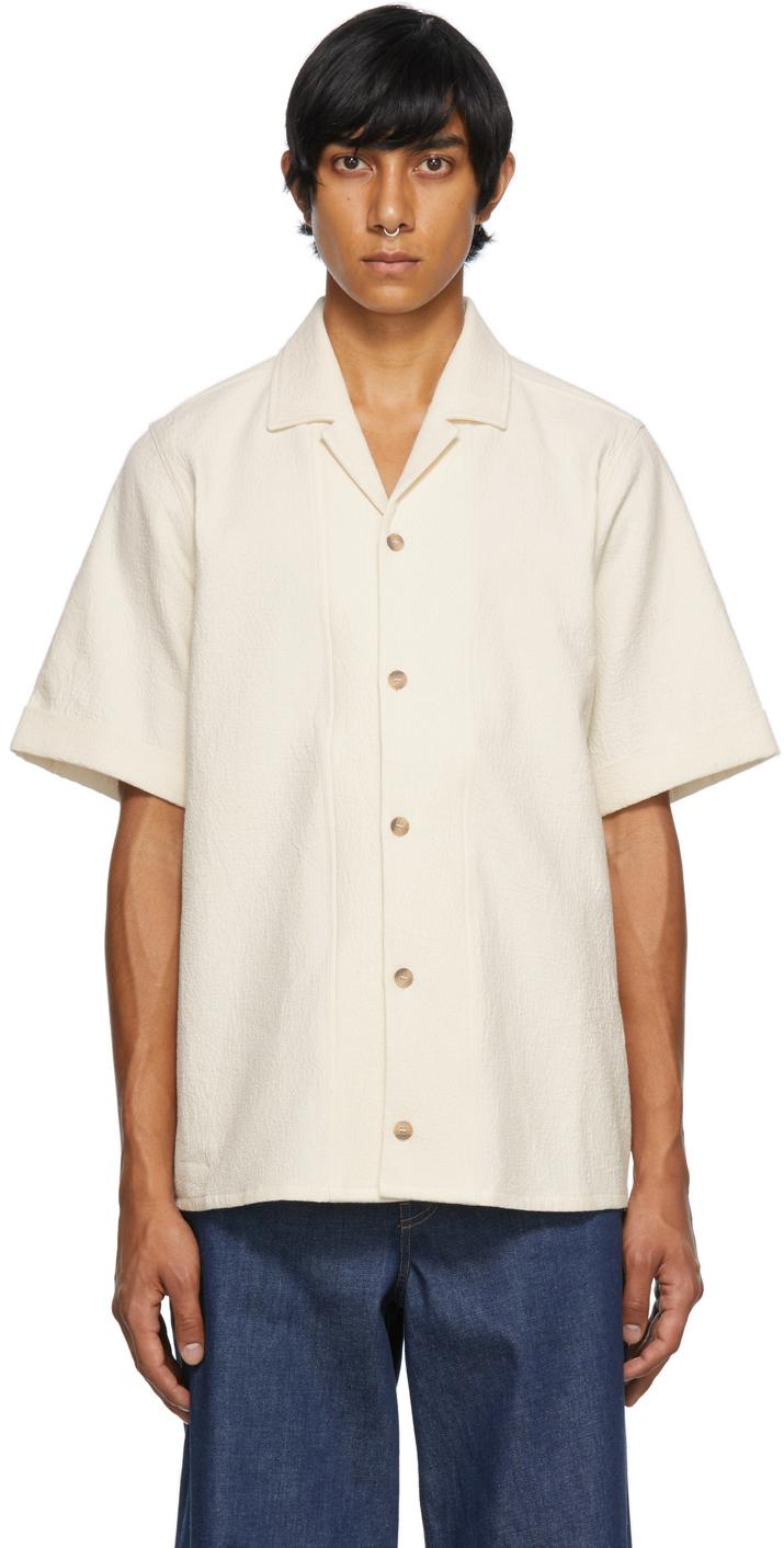 Beige Crepe Bowling Short Sleeve Shirt