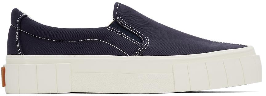Navy & Green Yess Slip-On Sneakers