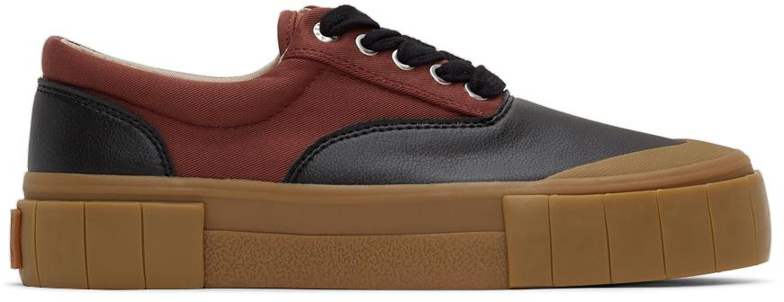 Burgundy & Black Opal Low Sneakers