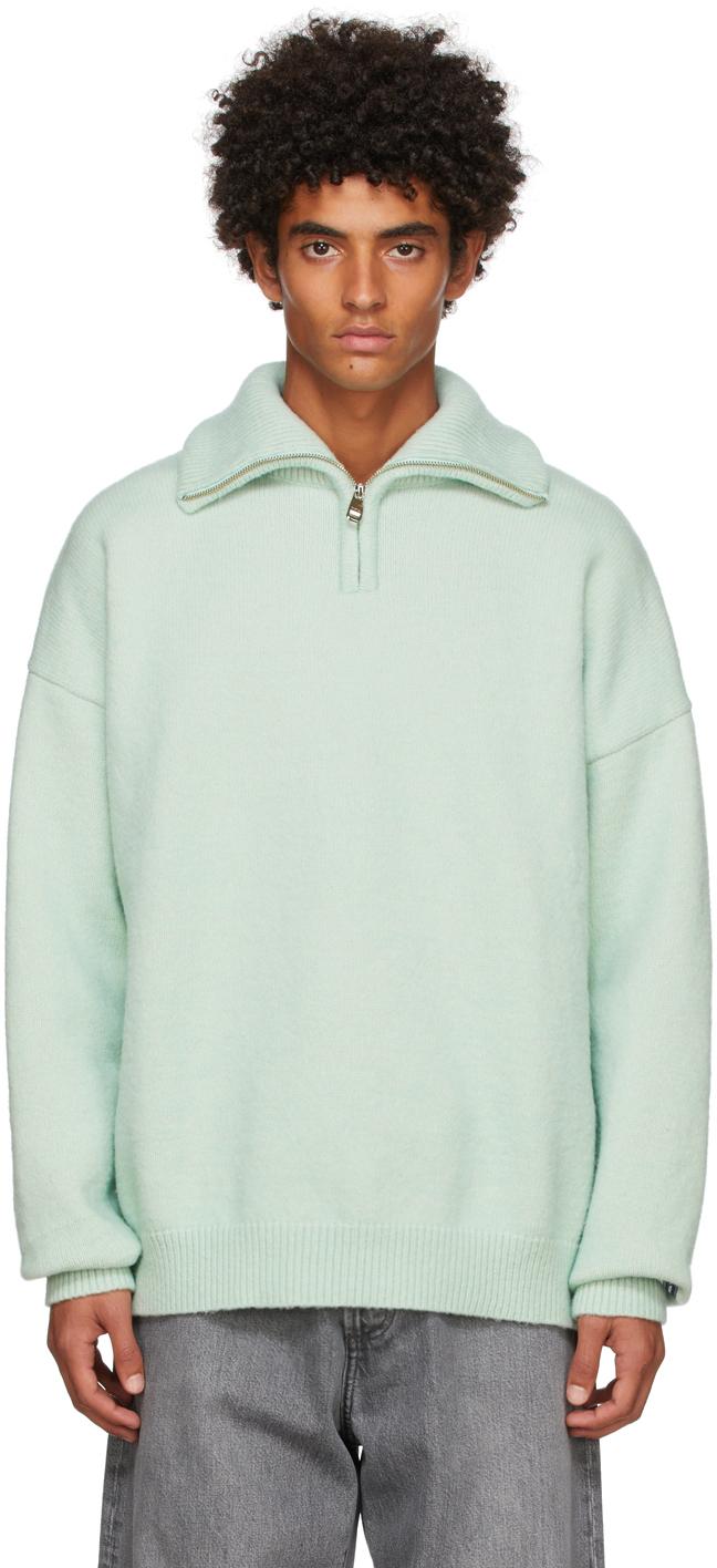 Drôle De Monsieur Green 'La Maille Vert D'eau' Half-Zip Sweater