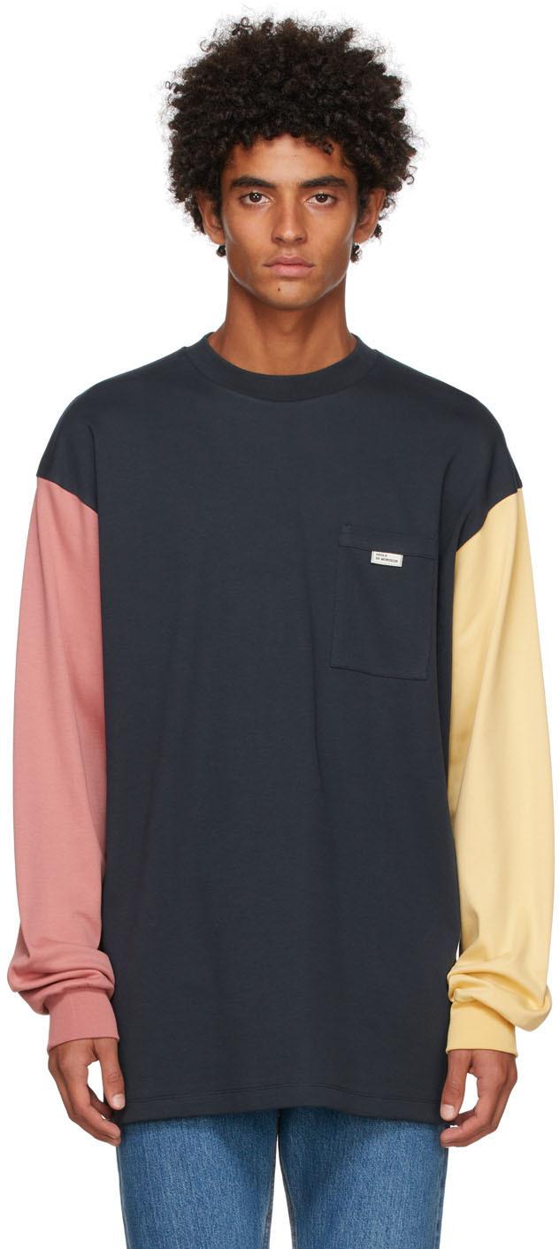 Drôle De Monsieur Navy 'Le T-Shirt Tricolor' Long Sleeve T-Shirt