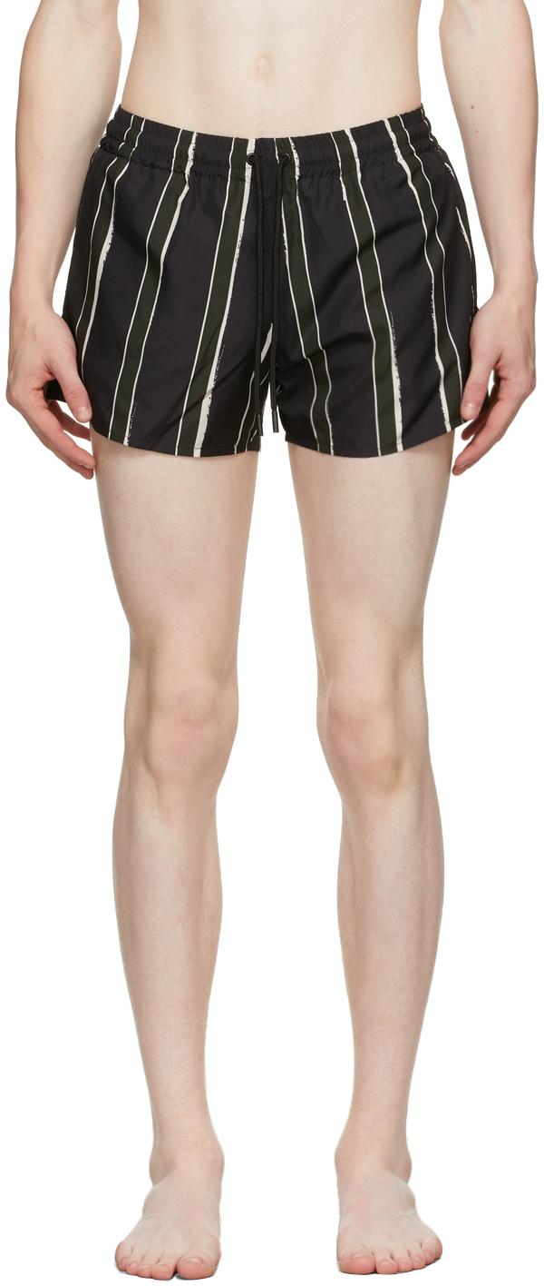 Black & Green Stripe Short Length Swim Shorts