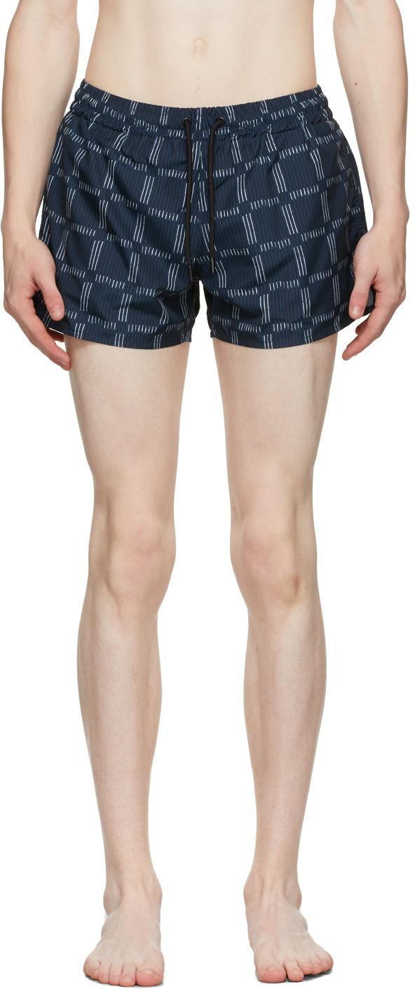 Blue Check Short Length Swim Shorts