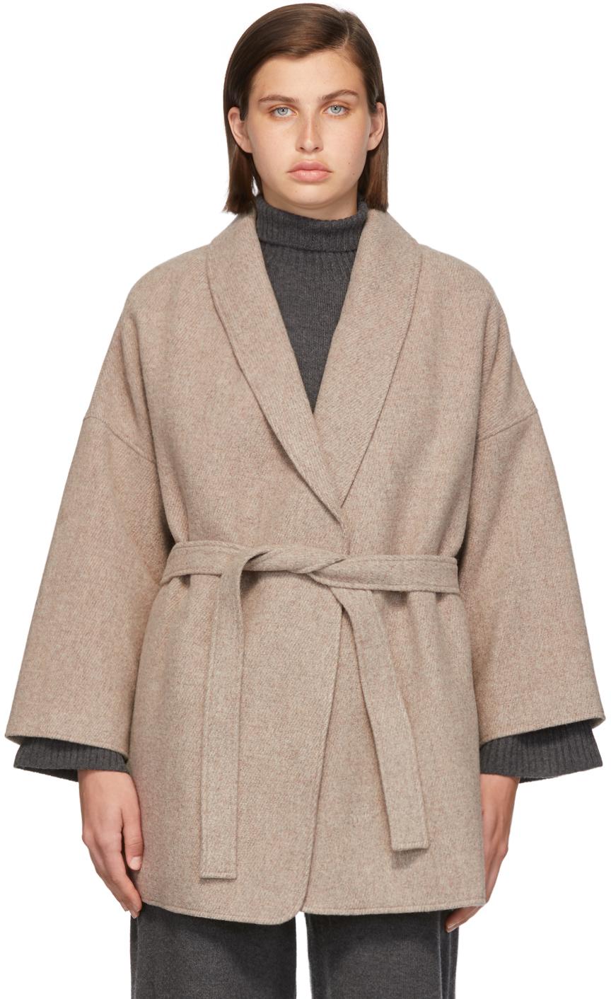 Taupe Wool Sol Robe Jacket