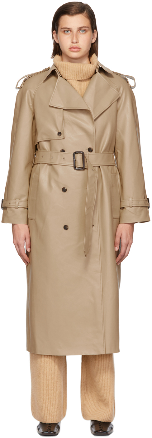 Beige Faux-Leather Trench Coat