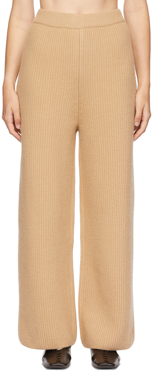 Beige Flared Ribbed Lounge Pants