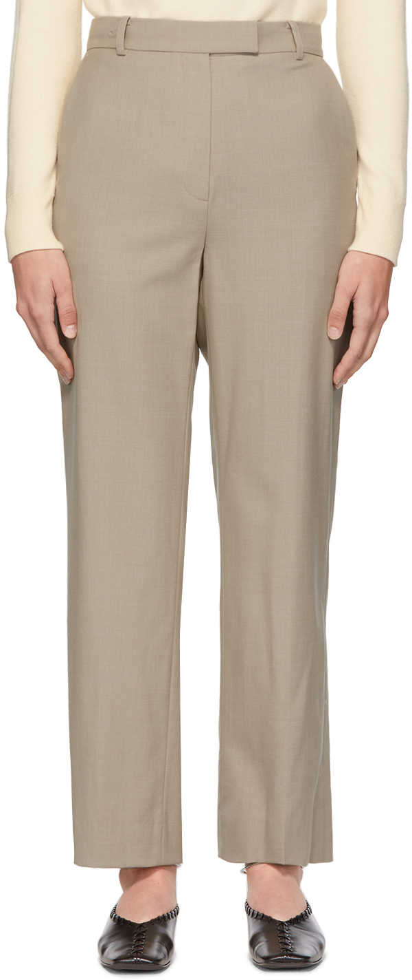 Beige Wool Sta Trousers