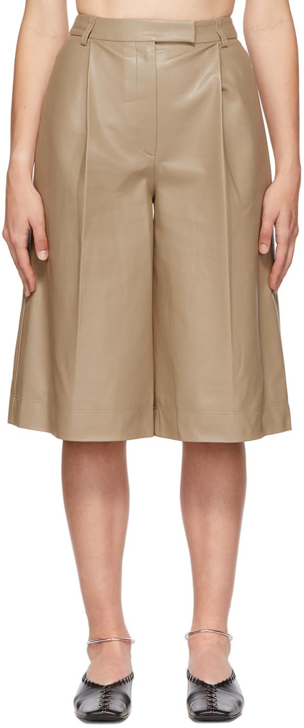 Beige Faux-Leather Crop Shorts