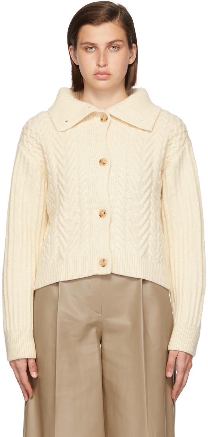 Off-White Cashmere Della Cable Cardigan