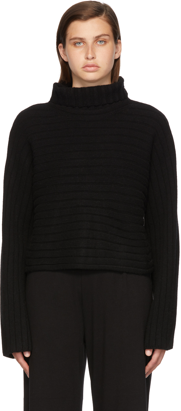 Black Cashmere Crop Turtleneck