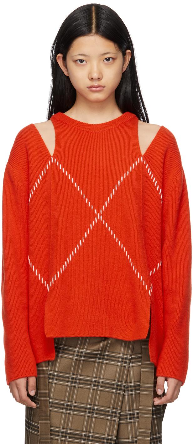 Red Hand Stitch Sweater