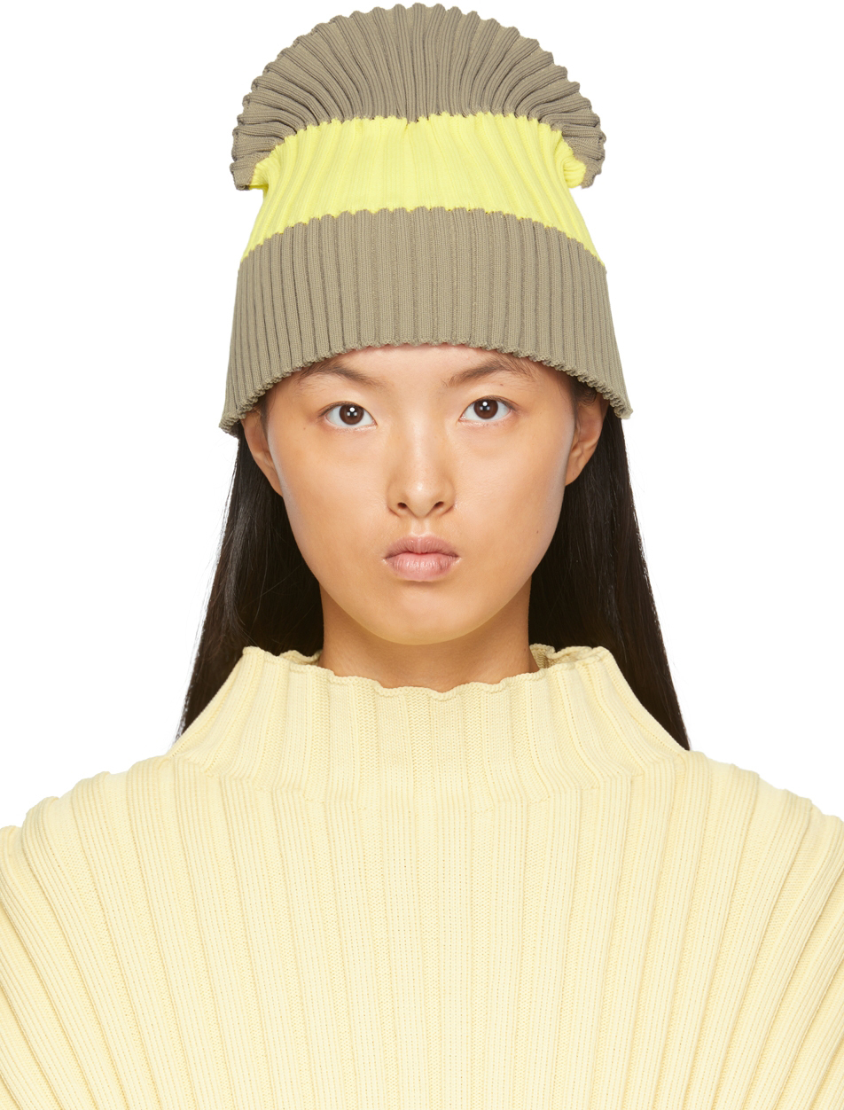 Taupe & Yellow Fluted Knit Beanie