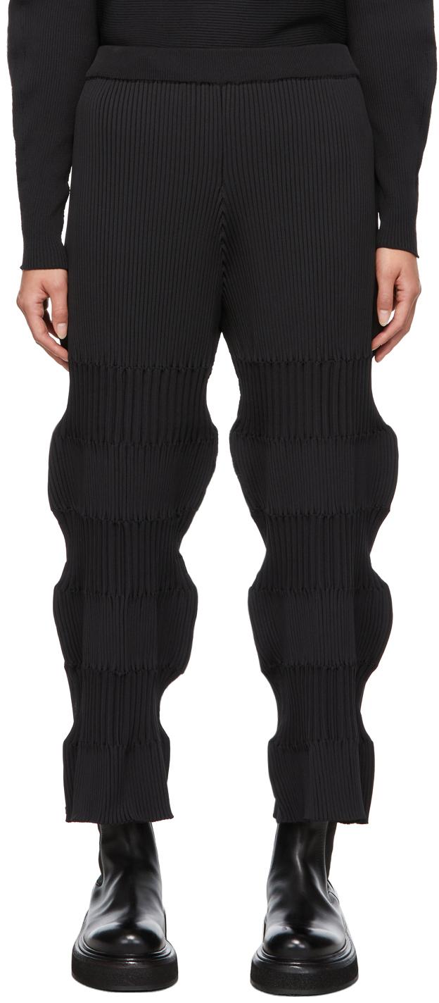 Black Fluted Lounge Pants