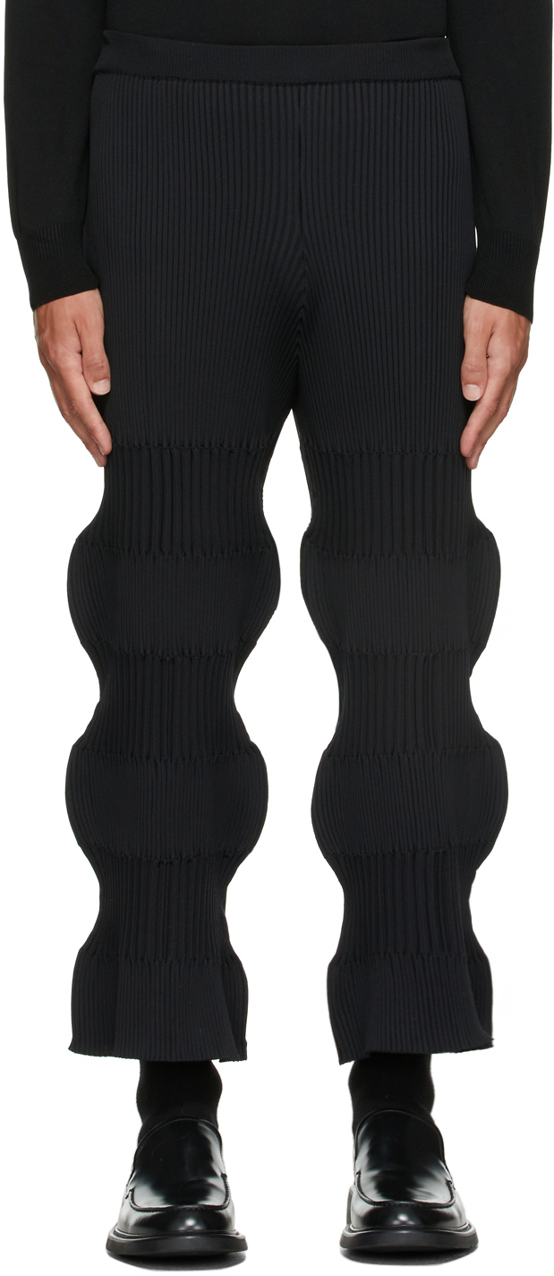 Black Fluted Trousers