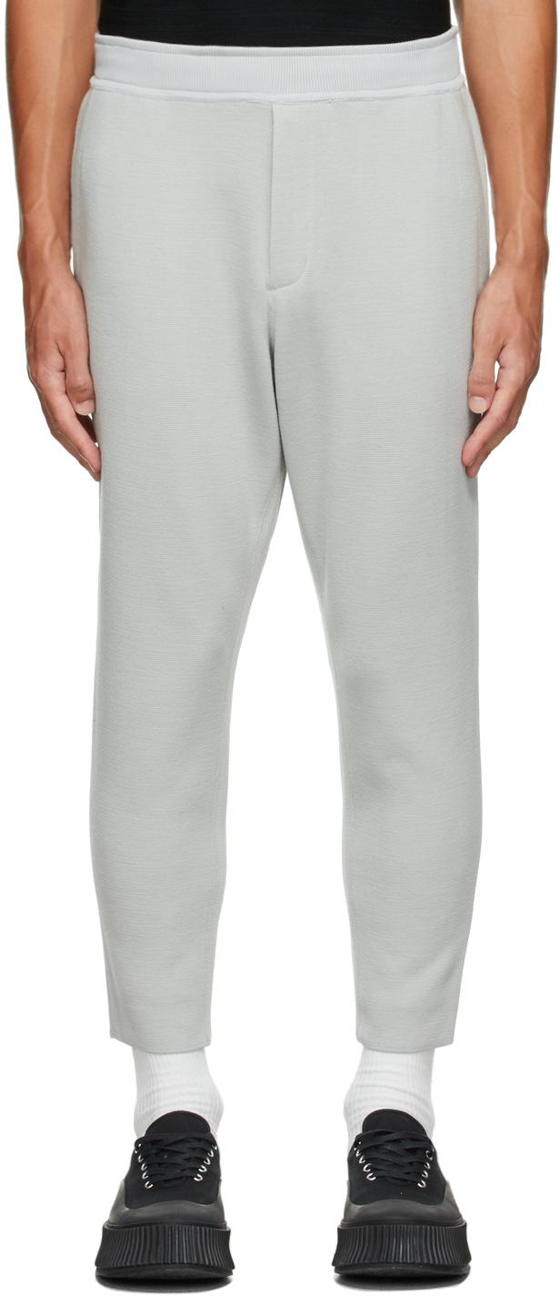 Grey Wool Milan Rib Tapered Trousers