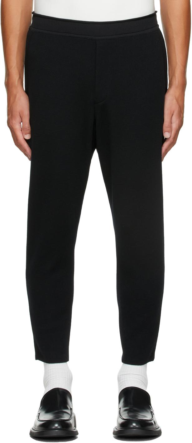 Black Wool Milan Rib Tapered Trousers