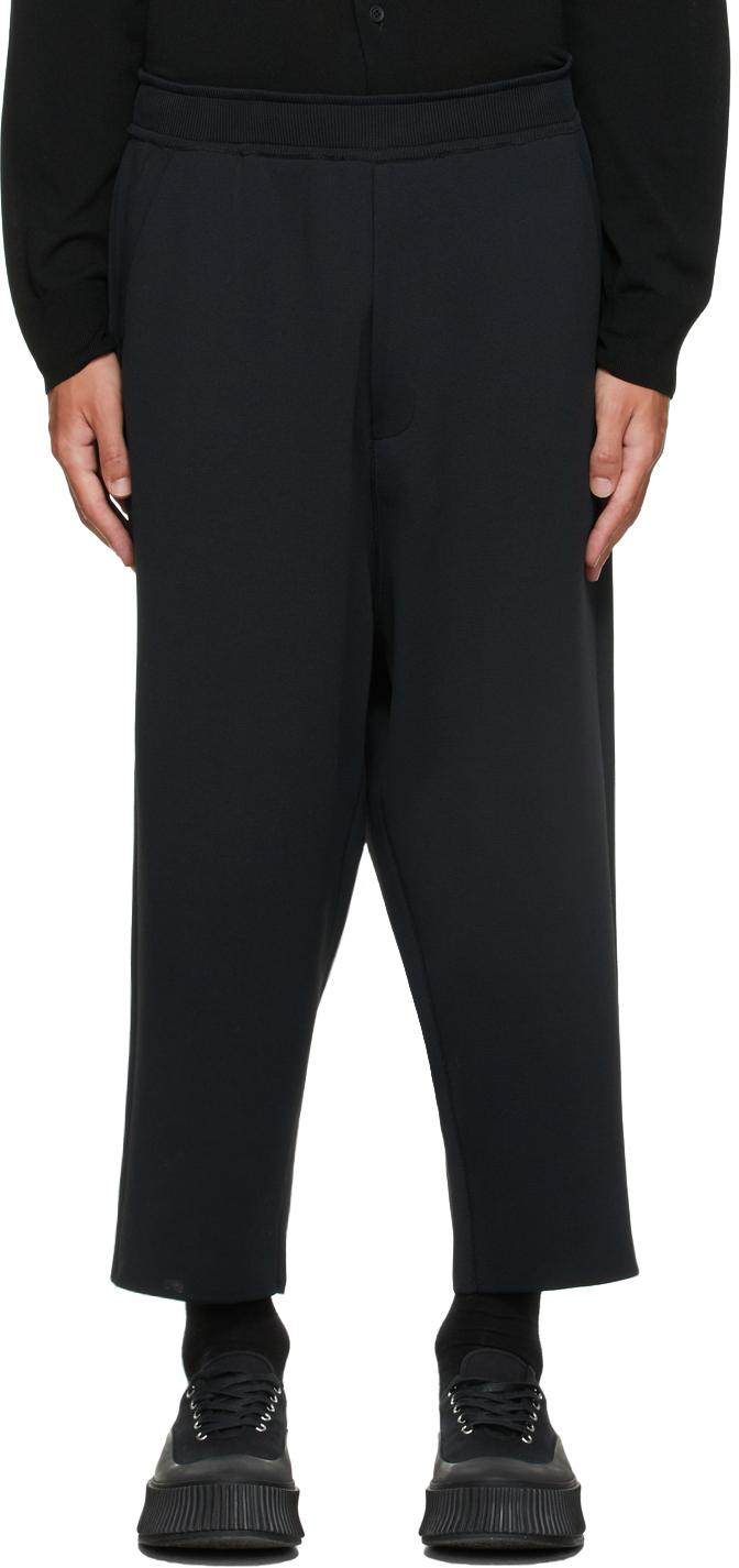 Black Milan Rib Sarrouel Trousers