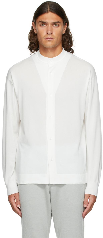 White High Gauge Stand Collar Shirt