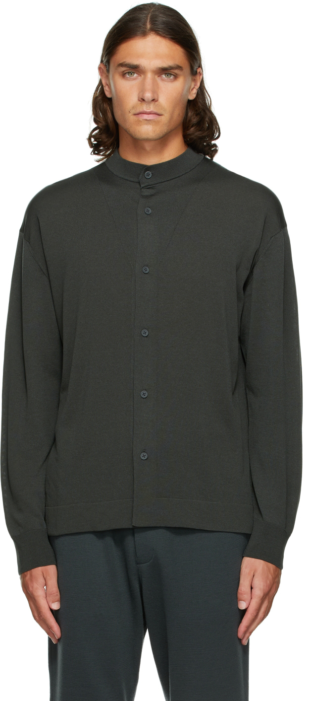 Grey High Gauge Stand Collar Shirt