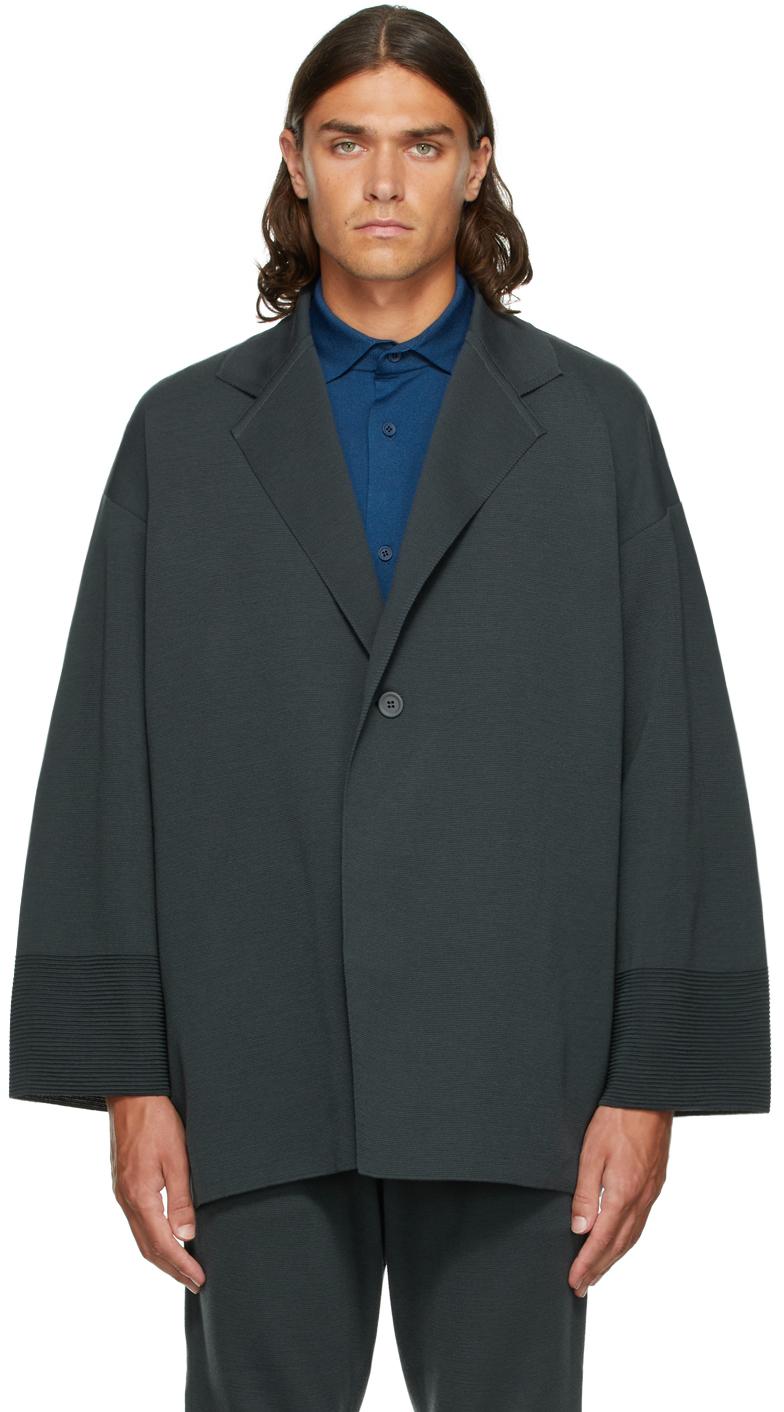 Grey Wool Milan Enwrap Blazer