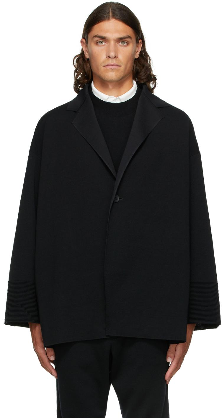 Black Wool Milan Enwrap Blazer