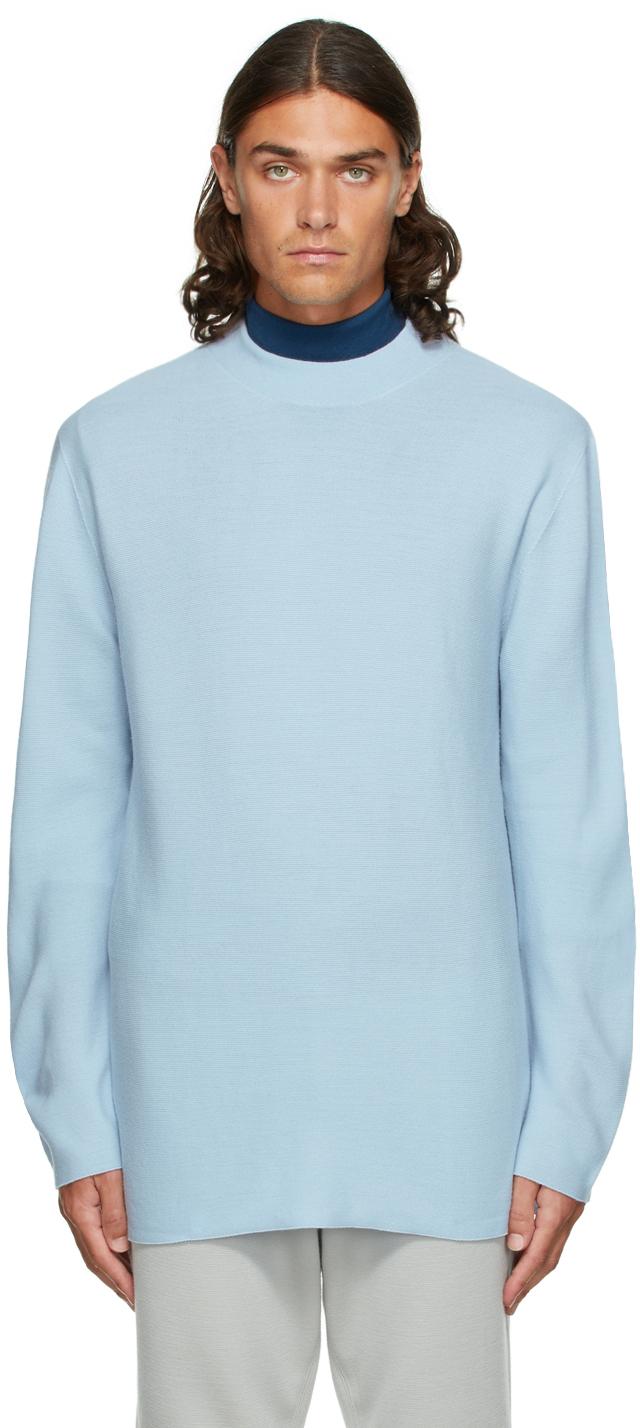 Blue Garter Wool Sweater