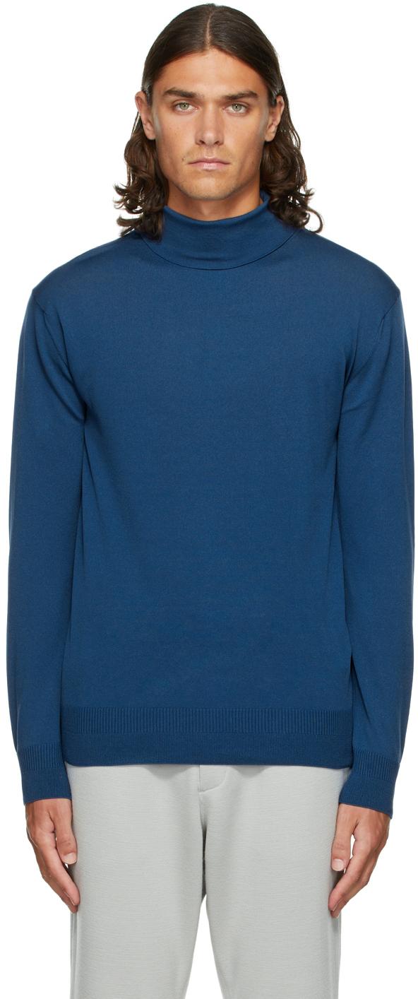 Blue High Gauge Knit Turtleneck