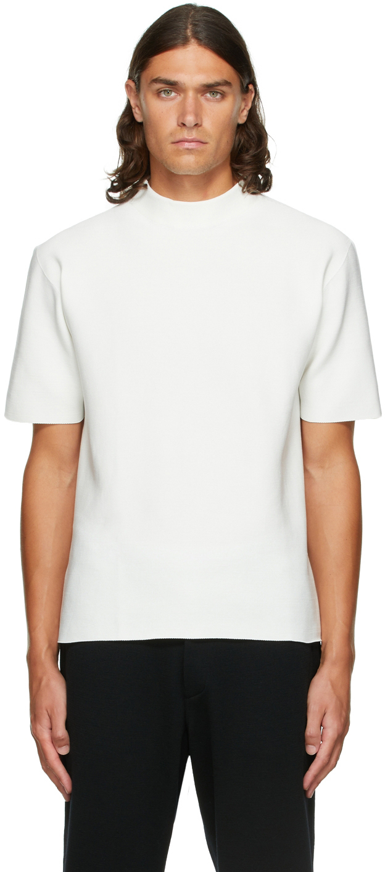 White Garter Mock Neck T-Shirt