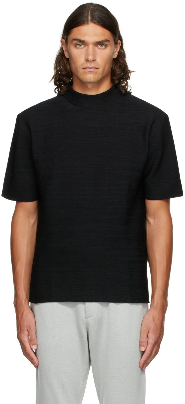 Black Garter Mock Neck T-Shirt