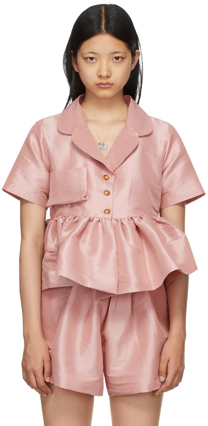 Pink Taffeta Angela Short Sleeve Shirt