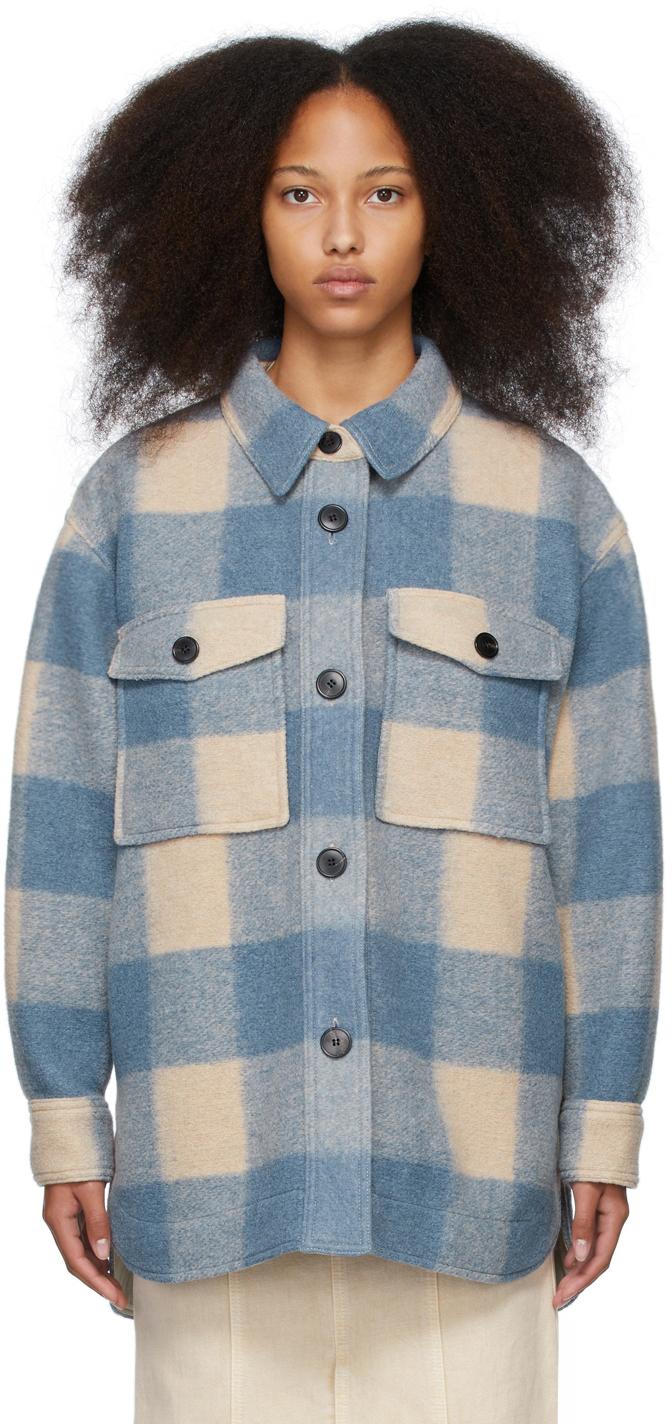 Isabel Marant Etoile Beige & Blue Check Harveli Jacket