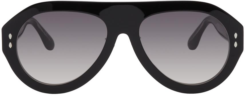 Black Acetate Pilot Sunglasses