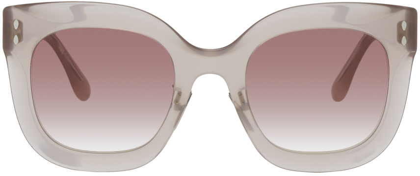 Beige Rounded Sunglasses