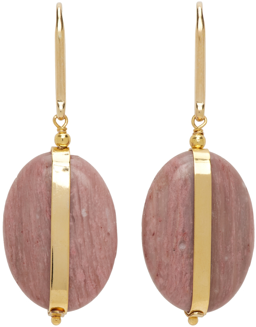 Gold & Pink Stones Earrings