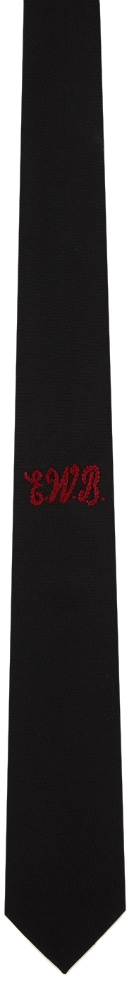 Black Embroidered Tie