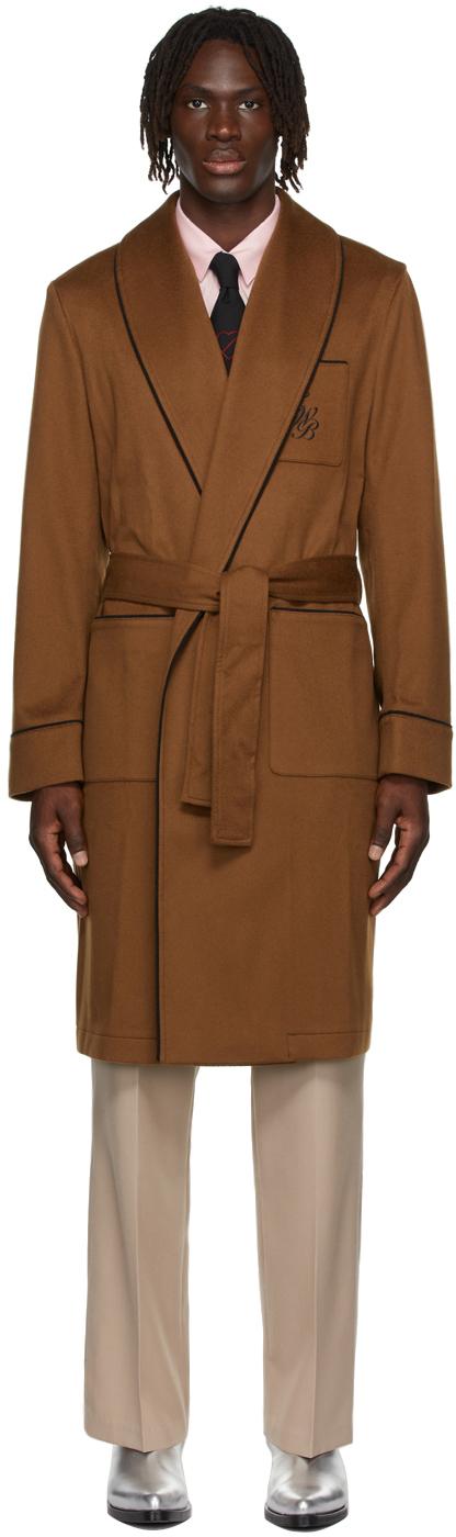 Tan Brushed Wool Robe Coat