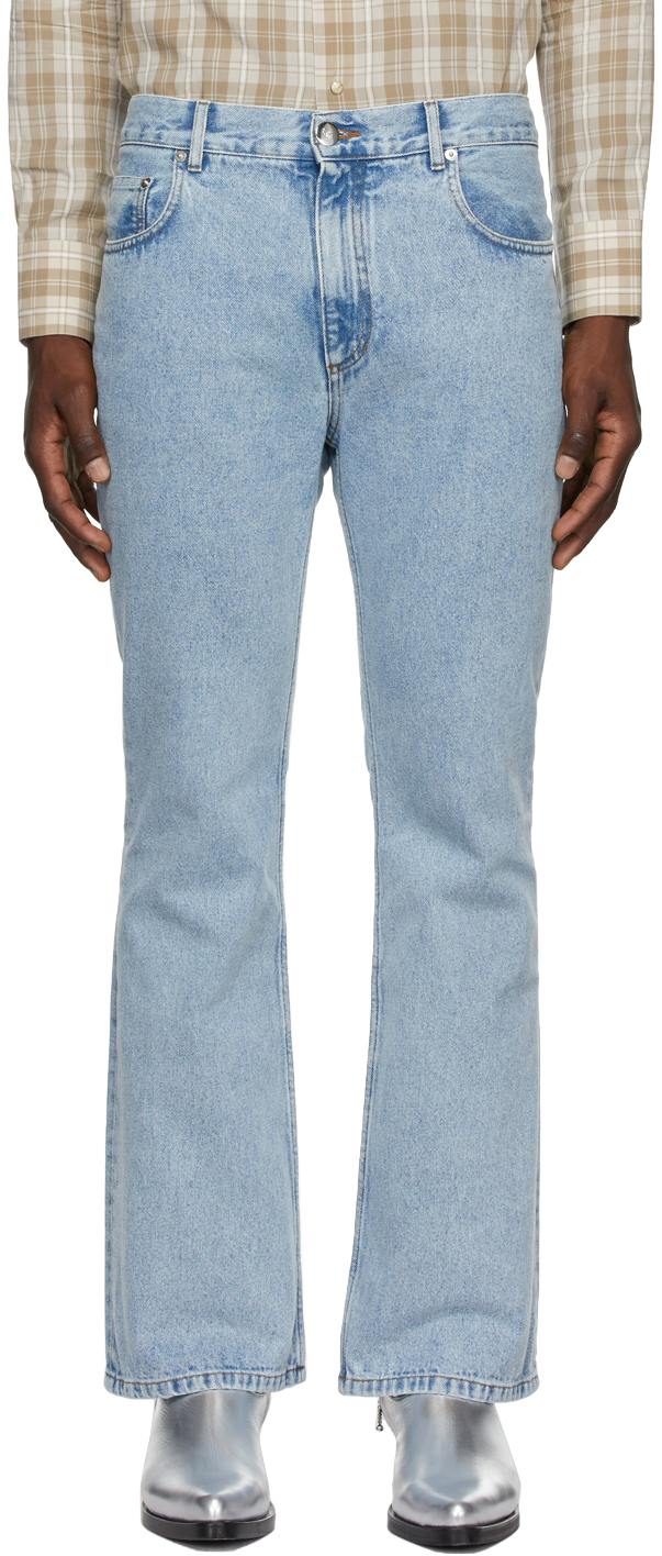 Blue Organic Denim Flare Jeans