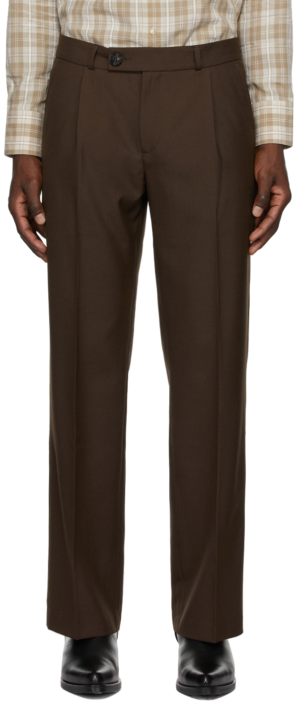 Brown Pleated Straight-Leg Trousers