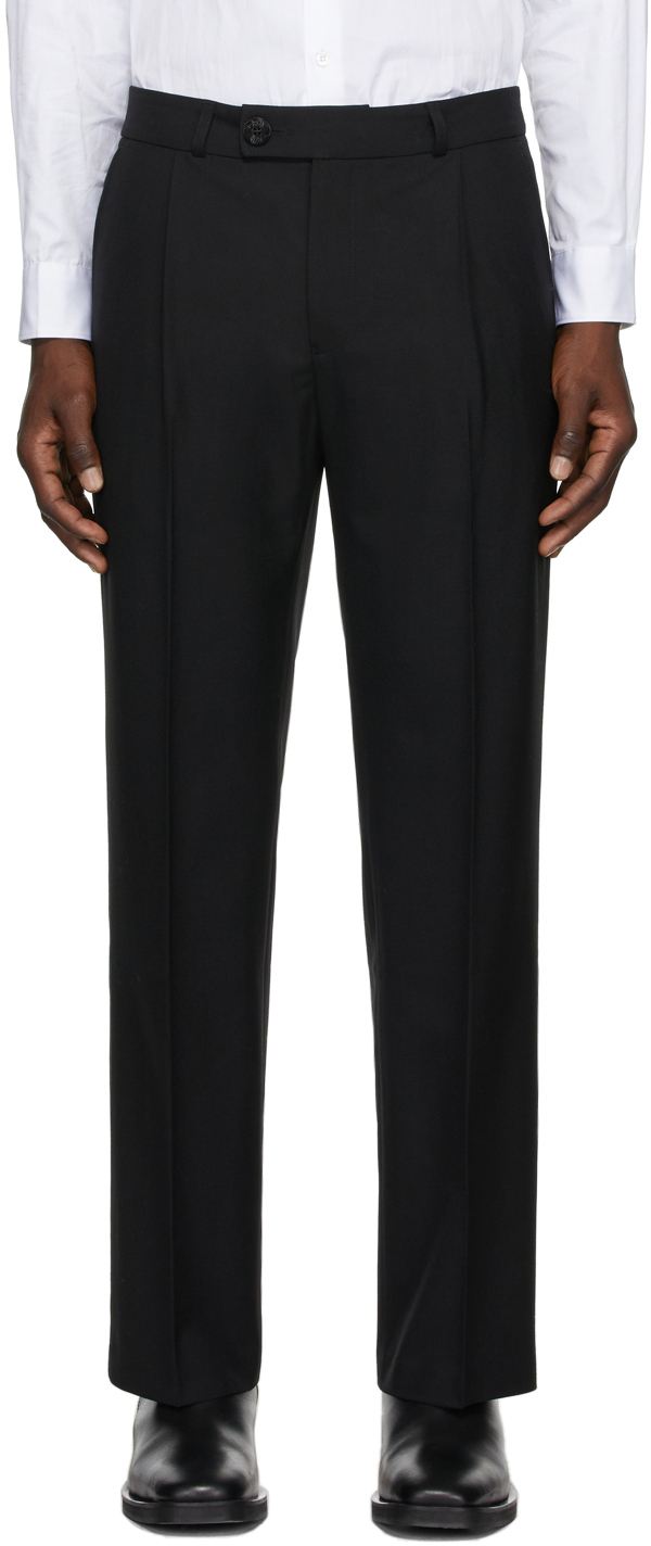 Black Pleated Straight-Leg Trousers