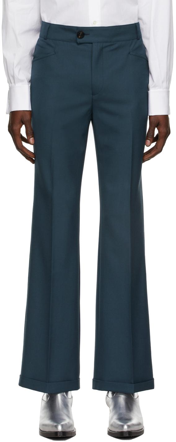 Blue Cuffed 70s Trousers