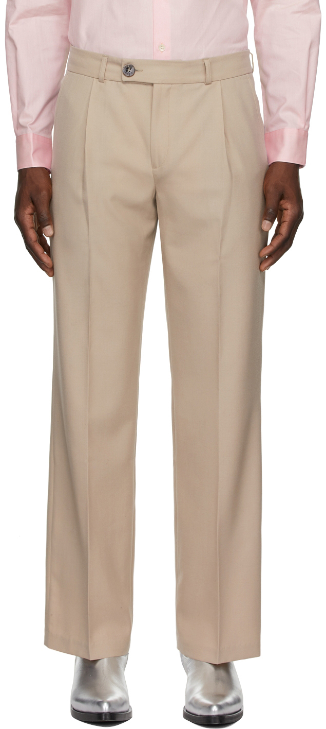 Beige Wool Pleated Straight-Leg Trousers