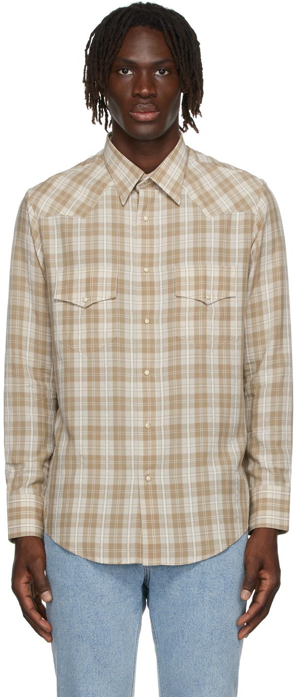 Beige Check Western Shirt