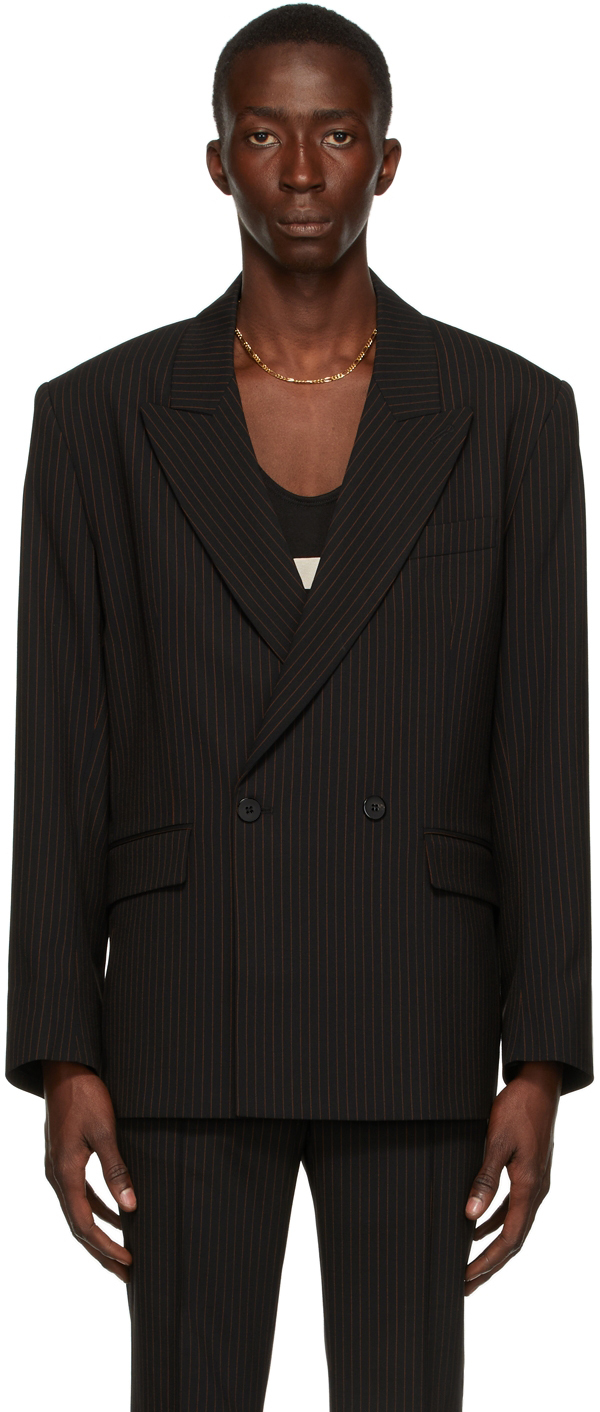 Black & Orange Pinstripe Double-Breasted Blazer