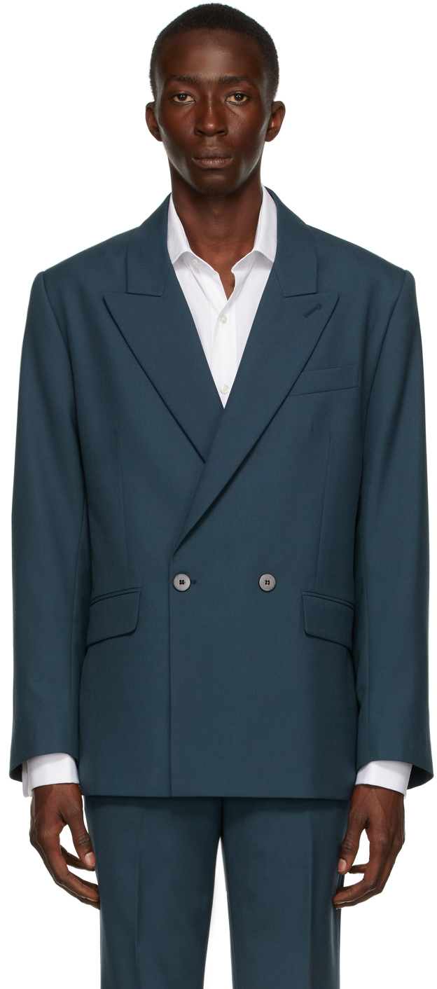 Blue Wool Double-Breasted Blazer