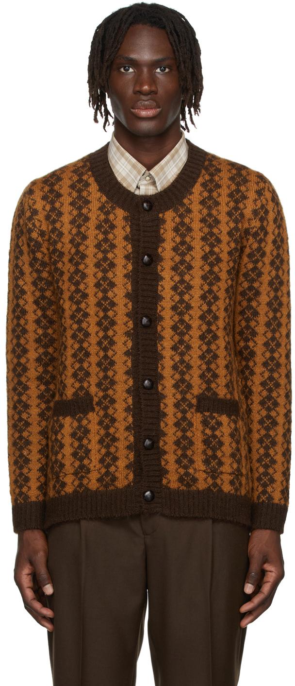 Brown & Orange Mohair Knit Cardigan