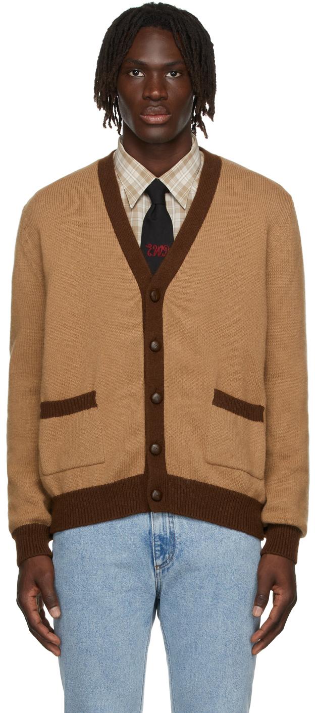 Beige & Brown Colorblock Cardigan