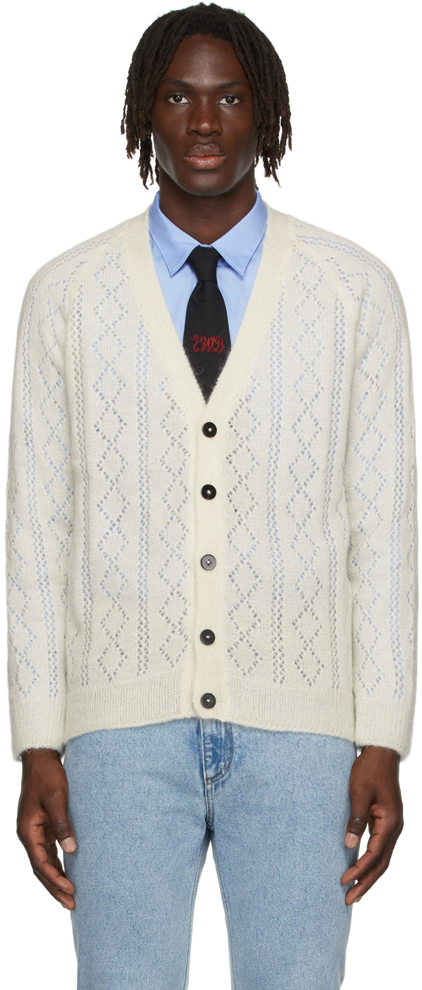 Off-White Mohair Open Knit Cardigan