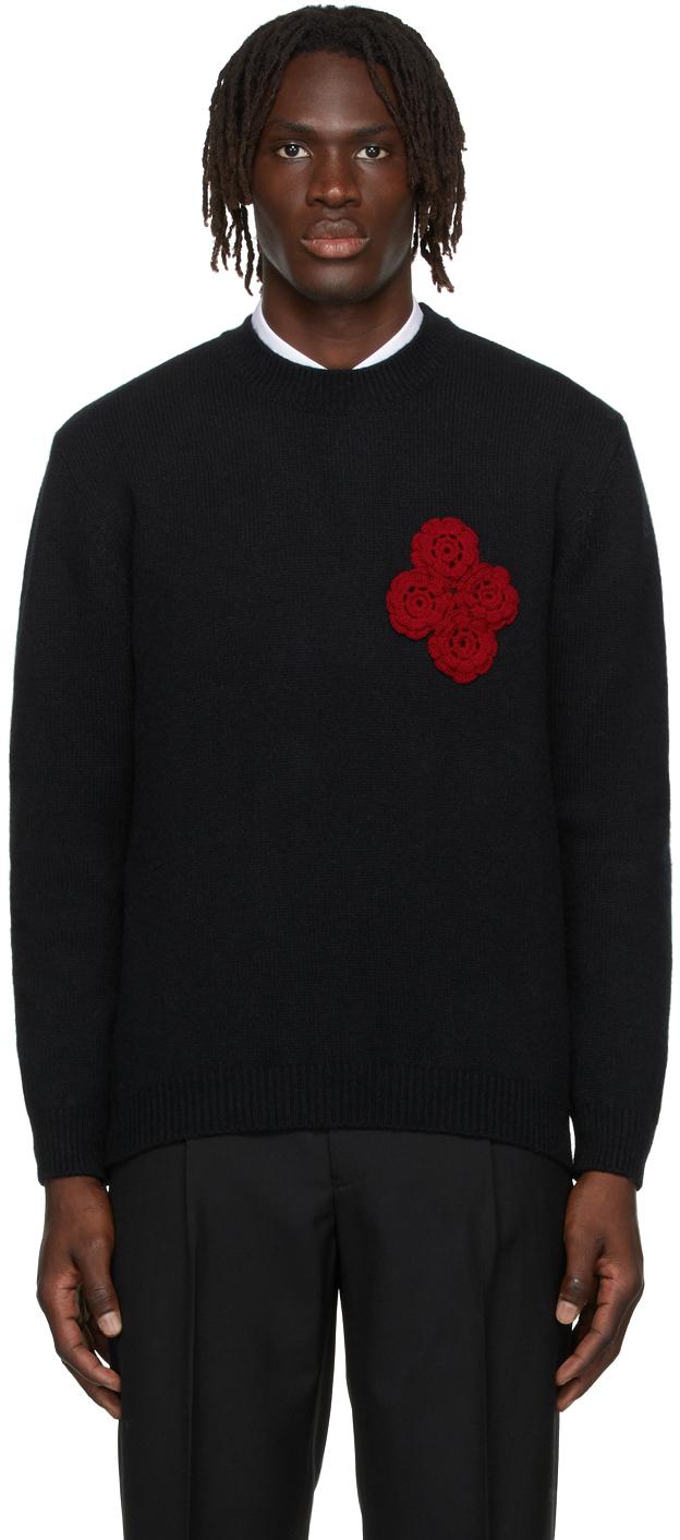 Black Crochet Rose Sweater